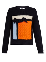 Msgm Knit Applique Wool Sweater Navy Multi