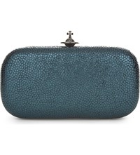 Vivienne Westwood Verona Crackled Leather Box Clutch Green