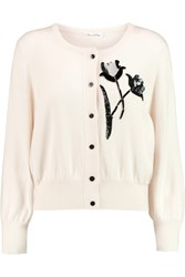 Oscar De La Renta Embellished Cashmere And Silk Blend Cardigan White