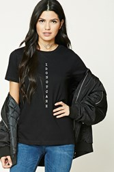 Forever 21 I Dont Care Graphic Tee Black White