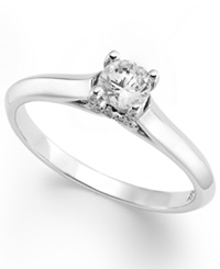 X3 Certified Diamond Solitaire Ring In 18K White Gold 1 3 Ct. T.W.