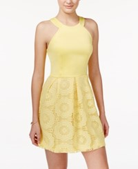 Teeze Me Juniors' Crochet Fit And Flare Dress Yellow