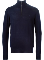 Etro Zipped Roll Neck Sweater Blue
