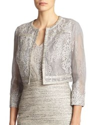Kay Unger Sequined Lace Jacket Blue Grey