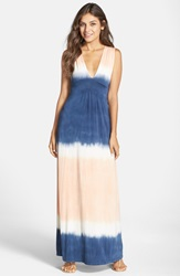 Fraiche By J Tie Dye Sleeveless Maxi Dress Blue White