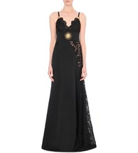 Fausto Puglisi Embellished Lace And Crepe Gown Black