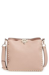 Valentino 'Small Rockstud' Leather Hobo Beige Skin Sorbet