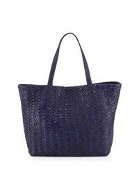 Neiman Marcus Woven Faux Leather Reptile Tote Bag Cobalt