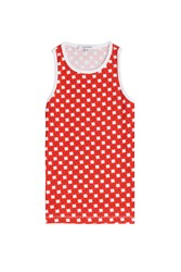 Carven Printed Cotton Tank Red