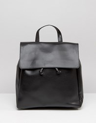 Pieces Minimal Fold Top Backpack Black