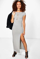 Boohoo Cap Sleeve Split Front Maxi Dress Grey