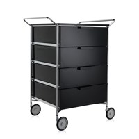 Kartell Mobil 4 Drawer Handles And Wheels Glossy Smoke