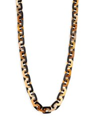 Nest Mixed Horn Rectangle Link Necklace