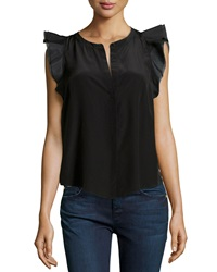 Madison Marcus Ruffle Sleeve Silk Blouse Black