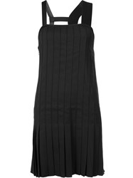 Vera Wang Pleated Asymmetric Dress Black