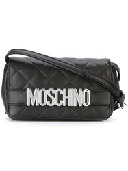 Moschino Quilted Logo Crossbody Bag Black