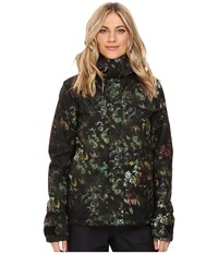 Volcom Snow Bow Insulated Gore Tex Jacket Black Floral Print Women's Coat