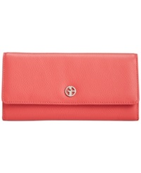 Giani Bernini Softy Leather Deluxe Flap Clutch Wallet Desert Rose
