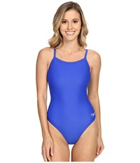 Speedo Powerflex Eco Solid Flyback One Piece New Sapphire Women's Swimsuits One Piece Blue