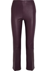 By Malene Birger Phase Cropped Leather Flared Pants Burgundy