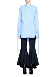Ellery 'Melodrama' Ruched Sleeve Dot Shirt Blue