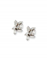 Suzanne Kalan Small White Baguette Diamond Cluster Earrings In 18K White Gold