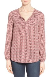 Women's Gibson Tie Neck Peasant Blouse Berry Ivory