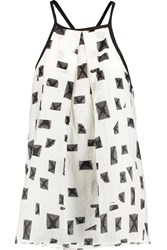 10 Crosby By Derek Lam Printed Silk And Cotton Blend Racer Back Camisole White
