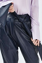 Boutique Leather Carrot Trousers By Navy Blue