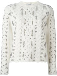 Valentino Studded Cable Knit Jumper White
