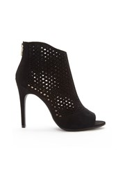 Forever 21 Laser Cut Faux Suede Booties Black