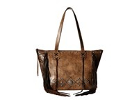 American West Canyon Creek Zip Top Fringe Tote Distressed Charcoal Brown Chocolate Tote Handbags