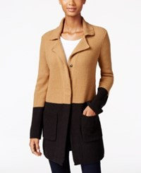 Styleandco. Style Co. Colorblocked Sweater Jacket Only At Macy's Salty Nut Combo