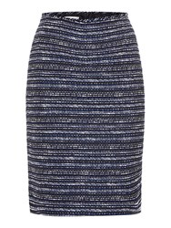 Tahari By Arthur S. Levine Black Ivory And Royal Blue Striped Boucle Skirt Multi Coloured