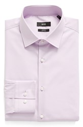 Boss Men's Big And Tall Slim Fit Solid Dress Shirt Lavender