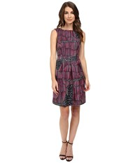Donna Morgan Box Pleat Poly Twill Fit And Flare Dress Flux Multi Women's Dress Gray