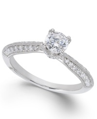 Classic By Marchesa Certified Diamond Engagement Ring In 18K White Gold 7 8 Ct. T.W.