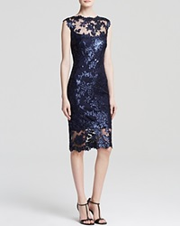 Tadashi Shoji Dress Sleeveless Sequin Lace Illusion Yoke Sheath Royal Navy