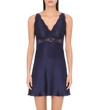 Nk Imode Morgan Iconic Floral Lace And Silk Satin Chemise Even Blue Even Blue