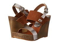 Mia Foxy Pewter Cognac Women's Wedge Shoes