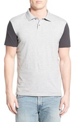 Men's Quiksilver 'Baysick' Colorblock Polo Light Grey Heather