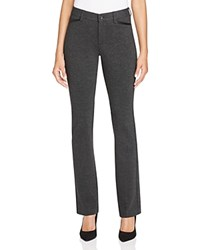 Nydj Marilyn Faux Leather Trimmed Ponte Straight Leg Jeans In Black Charcoal
