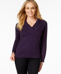 Karen Scott Shawl Collar Long Sleeve Sweater Only At Macy's Purple Gem