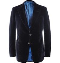 Tom Ford Blue Shelton Slim Fit Cotton Velvet Tuxedo Jacket Midnight Blue