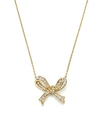 Bloomingdale's Diamond Bow Pendant Necklace In 14K Yellow Gold .20 Ct. T.W. Gold White