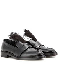 Christopher Kane Feather Embellished Patent Leather Penny Loafers Black