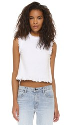 Alexander Wang Frayed Sleeveless Crop Top White
