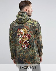 Reclaimed Vintage Military Parka Jacket With Tiger Back Patch Camo Green