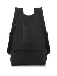 Y 3 Logo Embossed Backpack Black