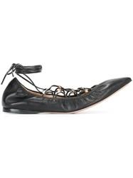 Valentino 'Rockstud' Lace Up Ballerinas Black